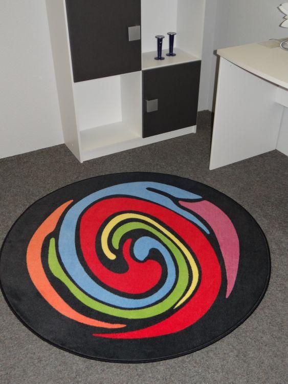 Teppich Farbenspiel Schwarz Rot Ausdrucksvoll In Farbe